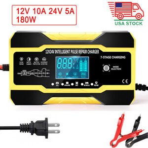 12v 24v Smart Car Battery Charger Touch Lcd Boat Caravan Truck Battery Repair Us