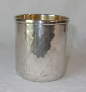 Nib Calegaro Italy Hammered Silverplate Gold Lined Tumbler Punch Cup 11 Avail