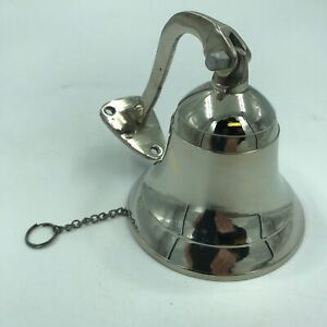 Nautical Marine Brass Ship Bell Door Bell Wall Mount Hanging Silver Finish