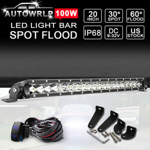 20 21 100w Ultra Thin Led Work Light Bar Offroad Driving Lamp Single Row Wiring