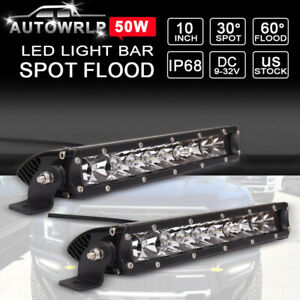 2x 10 50w Single Row Led Light Bar Slim Fog Driving Truck For Ford Jeep 11 9