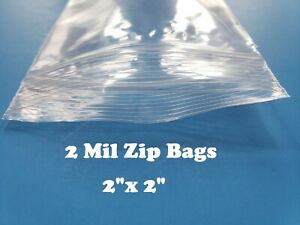 2 x2 Clear 2 Mil Plastic Zip Lock Bag Reclosable Seal 2mil Small Zipper Baggies