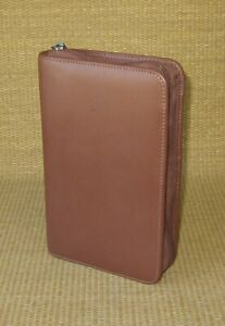 Portable Day timer Brown Sim Leather 1 Rings Planner binder Filofax Personal