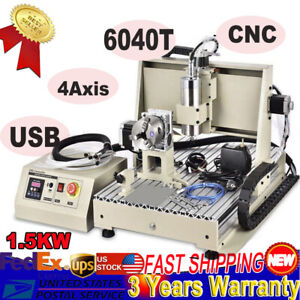 Used Usb 4axis Cnc 6040 Router Engraver Milling Machine 1 5kw Vfd Spindle Motor