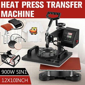5 In 1 Digital T shirt Heat Press Sublimation Transfer Machine T shirt Mug Hat