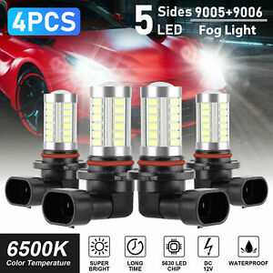 4pcs Combo 9005 9006 Led Headlight Kit High Low Beam Fog Bulbs 240w White 6000k