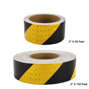 1roll Yellow And Black Reflective Tape 2 Hazard Warning Tape Reflective Safety