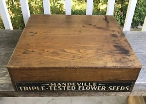 Antique Country Store Wooden Seed Box Mandeville Triple Tested Flower Seeds