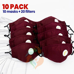 10 Pack Burgundy Reusable Cotton Face Mask Respirator Valve Pm2 5 Filters