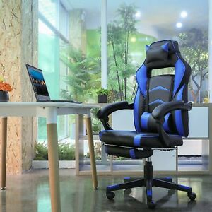 Gaming Chair Ergonomic Racing Style Leather Office Swivel Recline Footrest Black