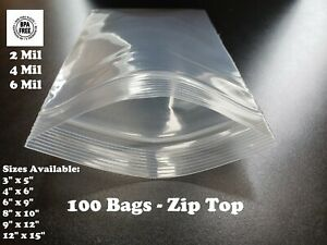 100 Plastic Bags Zip Seal 2 4 6mil Thick Reclosable Top Lock Zipper Small Large