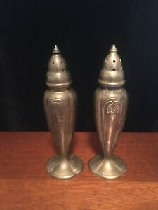 Antique Sterling Silver 550 Salt Pepper Shakers Art Deco Art Nouveau Tableware