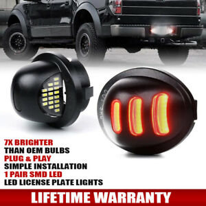 upgrade 1990 2014 Ford F150 Red Neon Tube Led License Plate Tag Light Pair