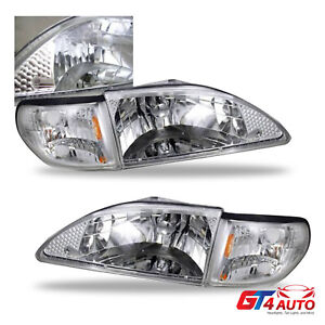 1994 1998 Ford Mustang Chrome Headlights Corner Signal Lamps Pair Set