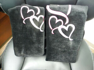 New Two Ae Hearts Universal Bucket Seat Covers Black Pink Free Shipping