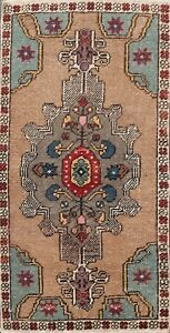 Geometric Semi Antique Authentic Oushak Turkish Area Rug Wool Hand Knotted 2 X3