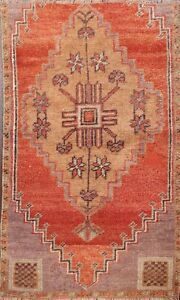 Geometric Semi Antique Orange Authentic Oushak Hand Knotted Turkish Area Rug 2x3