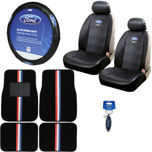 New 10pc Ford Mustang Car Truck Floor Mats Seat Covers Steering Wheel Cover Set
