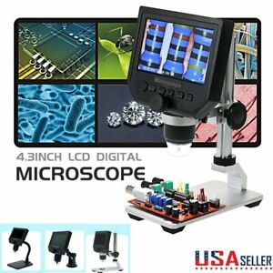 Portable 4 3 600x Lcd Monitor Electronic Digital Microscope Led Magnifier 1080p