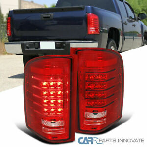 For 07 14 Chevy Silverado 1500 2500 Pickup Red Led Tail Lights Rear Lamps Pair