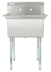Stainless Steel Utility Sink Commercial Laundry Tub Freestanding Single Bowl 28