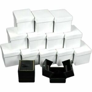 12 Large Black Ring Gift Boxes With Snap Lids