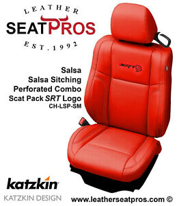 Katzkin Leather Seat Covers 2015 2020 Dodge Charger Salsa Red Scat Pack Logo