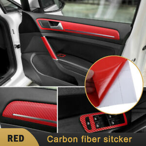 3d Red Carbon Fiber Car Interior Panel Protector Sticker Accessories Diy Durable