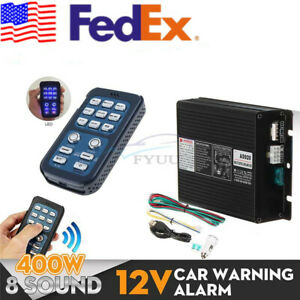 12v 400w 8 Sound Car Siren Horn Pa System Control Box Host Accessories Part Usa