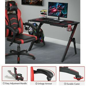 Gaming Desk Home Computer Table Leather Gaming Racing Chair Ergonomic Adjustable