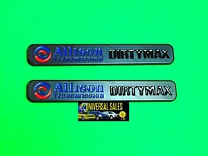 2x Black Dirtymax Fits Gm Allison Transmission Emblem Silverado Sierra Hood New