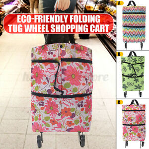 Protable Foldable Shopping Trolley Bag With Wheel Foldable Cart Market Handbag