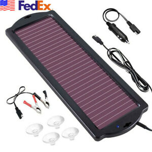 Waterproof 12v Solar Battery Car Maintainer Charger Tender Trickle 1 8w 110ma Us