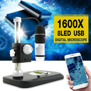 8 Led 1600x Usb Digital Microscope Magnifier Endoscope Camera With Stand Holder