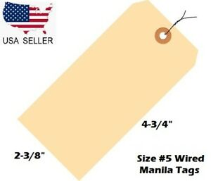 Pack Of 100 Size 5 Manila Inventory Shipping Hang Tags With Wire 4 3 4 X 2 3 8