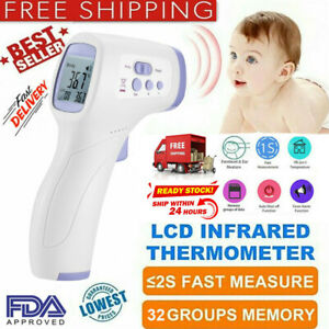 No Touch Infrared Digital Forehead Body Temperature Gun Thermometer Baby Adult Q