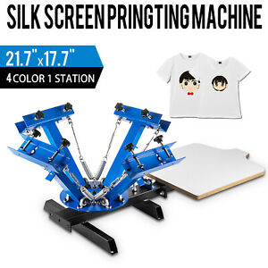 4 Color 1 Station Silk Screen Printing Machine Press Equipment T shirt Pressing