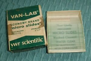Vintage Van lab Microscope Frosted Pre Cleaned Slides 3 X 1 Box Of 50