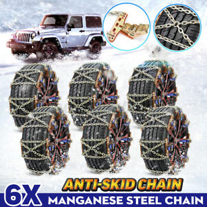 6x Car Tire Snow Anti skid Chains Wear resistant Steel Belt Winter Drive Safety