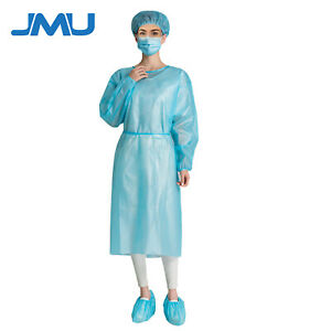 10 Blue Medical Dental Isolation Gowns Regular Size Gowns Disposable Unisex Usa