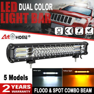 20 Inch 288w White Amber Dual Color Strobe Combo Led Work Light Bar Offroad Atv