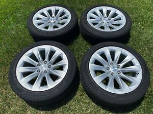 Tesla Model S 19 Silver Slipstream Wheels And Tires Factory Oem With Tpms