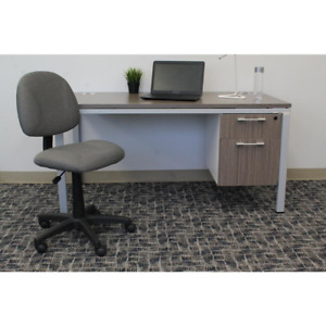Homepro Armless Desk Task Chair Grey Tweed Fabric Pnuematic Lift Home Office