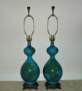 Pair Of Table Lamps Turquoise Blue Mid Century Modern C 1971 Hollywood Regency