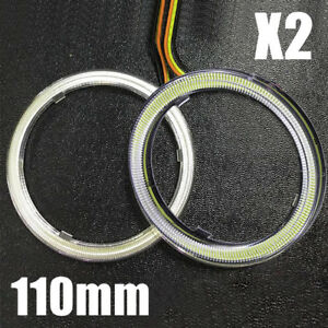 2pcs White 110mm Cob Led Angel Eyes Headlight Halo Ring Warning Lamps