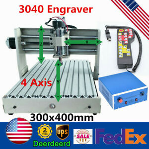 4 Axis Cnc 3040 Router Wood Engraver 3d Milling Engraving Machine 400w handwheel