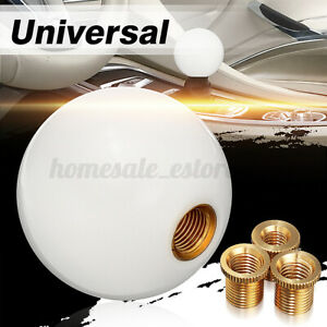 White Universal Car Round Ball Resin Gear Shift Knob Stick Shifter Lever Usa