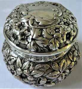 Antique Sterling Silver Welch Bro Lrg Floral Repousse Covered Box Jar Ex Cond