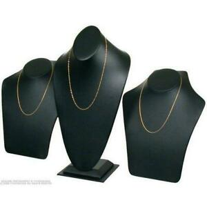 3 Black Faux Leather Necklace Bust Displays