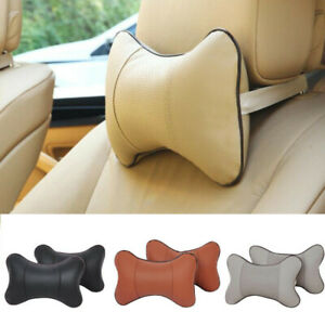 2pcs Car Headrest Neck Pillow Head Neck Rest Seat Cushion Headrest Leather Beige
